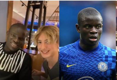 Kante eats pizza on the street with supporters